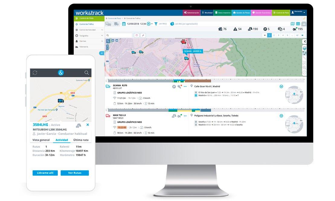 control de flotas, gestión de flotas logística y localización de vehículos GPS