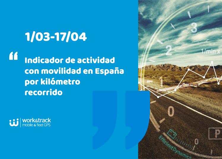Indicador de actividad con movilidad en España por kilómetro recorrido: 1/03-17/04